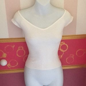 White Super Soft Knit Top by Guess